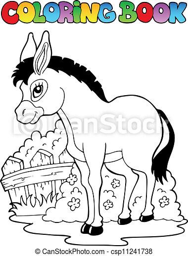 Coloring book donkey theme 1 - csp11241738