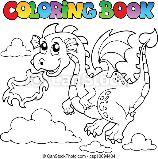 Coloring book dragon theme image 3 - csp10694404