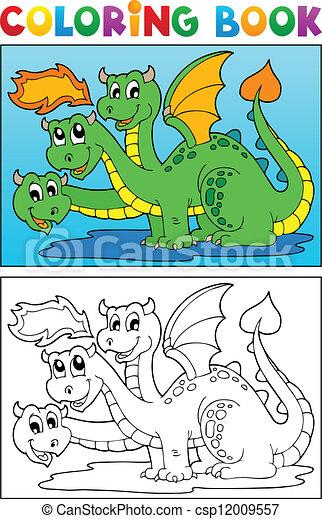 Coloring book dragon theme image 4 - csp12009557