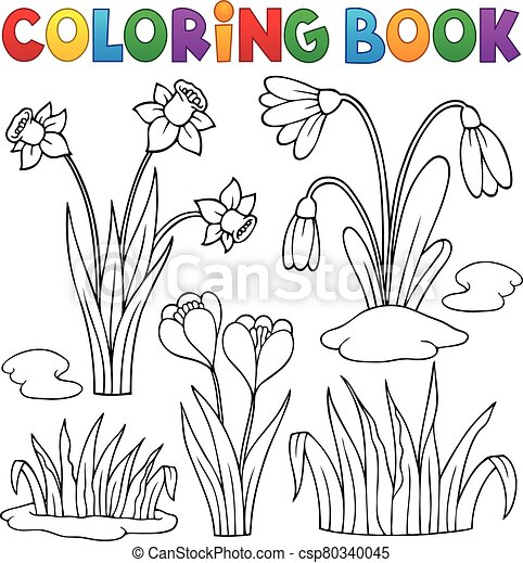 Coloring book early spring flowers set 1 - eps10 vector ...