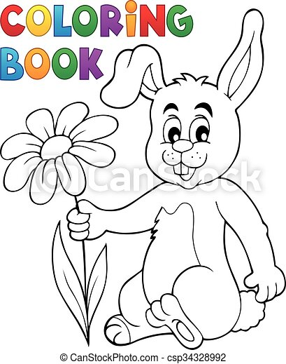 Coloring book easter bunny with flower - eps10 vector... eps vectors ...