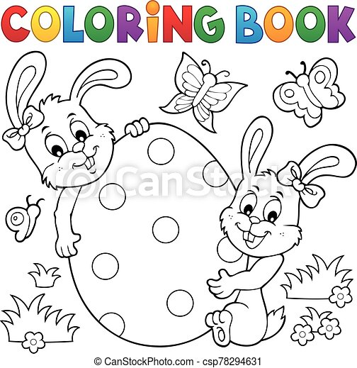 - Coloring Book Easter Egg And Rabbits - Eps10 Vector Illustration.