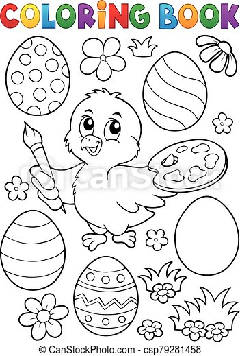 Coloring book Easter eggs and chicken 10