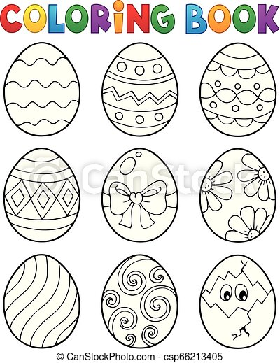Coloring book Easter eggs theme 9