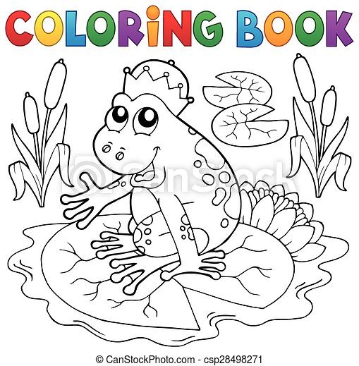 Coloring book fairy tale frog - csp28498271