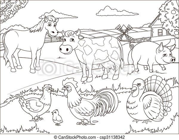 Coloring book farm cartoon educational - csp31138342