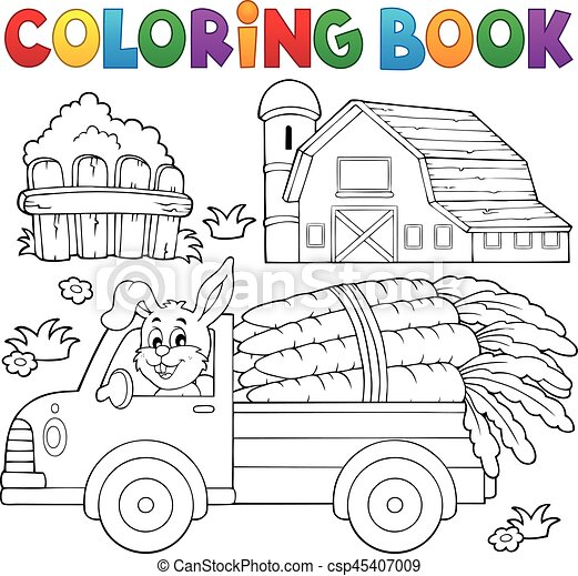 Coloring book farm truck with carrots - eps10 vector... vector ...