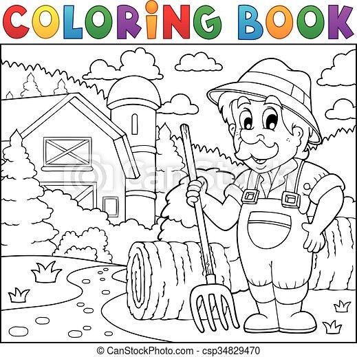 Coloring book farmer near farmhouse 2 - csp34829470
