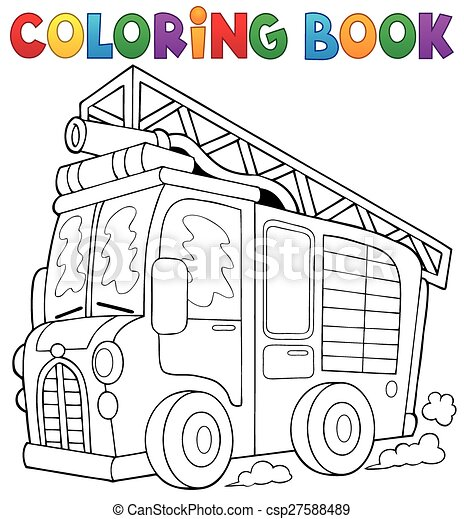Coloring book fire truck theme 1 - csp27588489