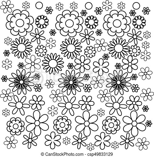 Coloring Book Flowers Vector Illustration