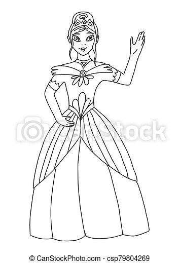 Coloring book for adults and children with a beautiful princess. The queen waves her hand and smiles. A magical story about a princess or queen. A series of coloring books about the kingdom. - csp79804269