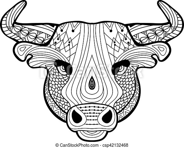 Coloring Book For Adults The Head Of A Buffalo