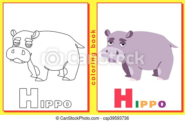 Coloring Book For Kids With Letters And Words Litter H Hippo Vector Image