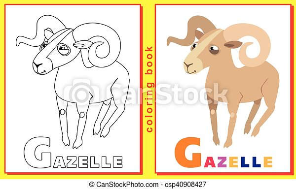 Coloring book for kids with letters and words. litter g. gazelle ...