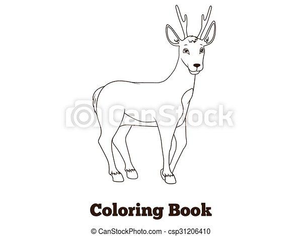 Coloring Book Forest Animal Roe Deer Cartoon