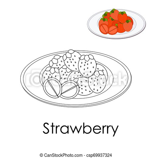 - Coloring Book Forest Strawberry On A Plate. Monochrome Illustration Large  Berries With Leaves. Poster Print For Leisure Kid.