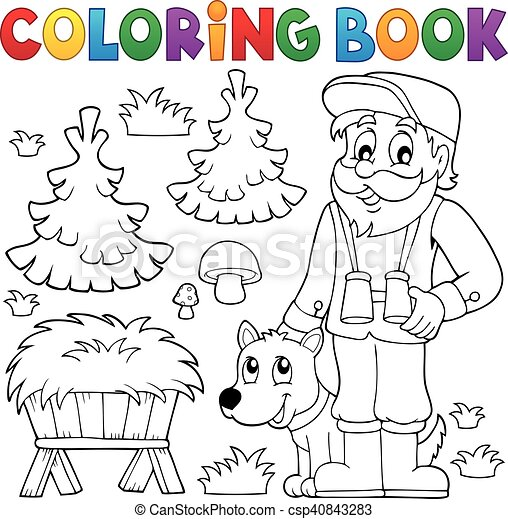 Coloring book forester theme 2 - csp40843283