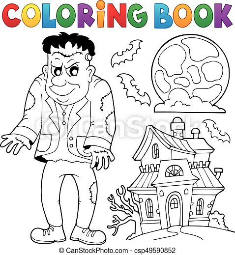 Coloring book Frankenstein theme - csp49590852