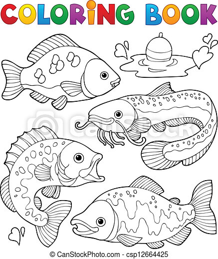Coloring book freshwater fishes 1 - csp12664425
