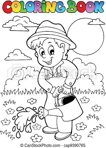 Coloring Book Garden And Gardener