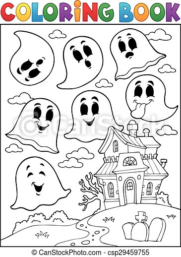 Coloring book ghost theme 4 - csp29459755