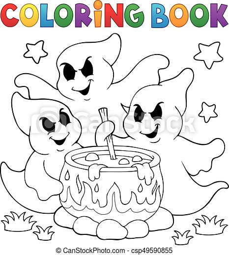 Coloring book ghosts stirring potion - csp49590855