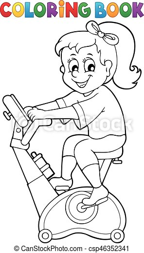 Coloring book girl exercising illustration.