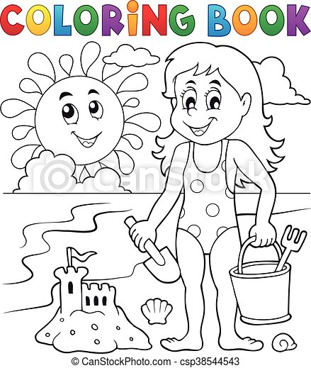 Coloring book girl playing on beach 1 - csp38544543