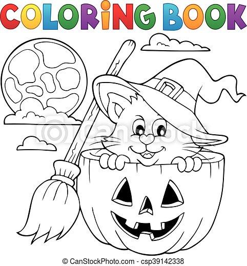 Coloring book Halloween cat - csp39142338