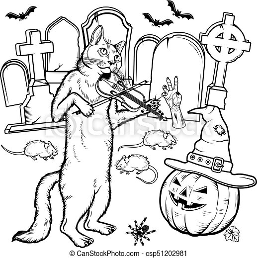Coloring book Halloween characters. Vector illustration - csp51202981