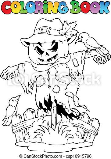 Coloring book Halloween scarecrow - csp10915796