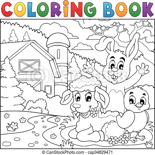 Coloring book happy animals near farm - csp34829471