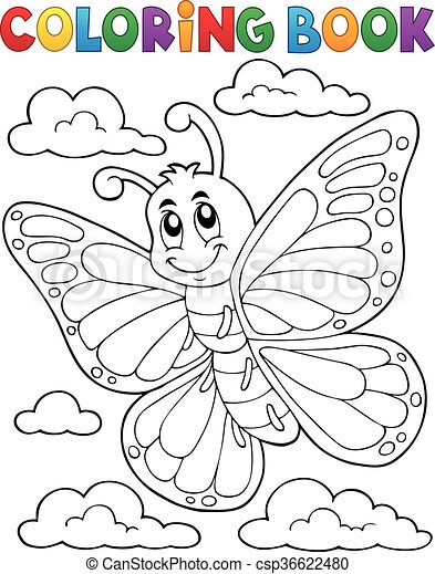 Coloring book happy butterfly topic 1 - csp36622480