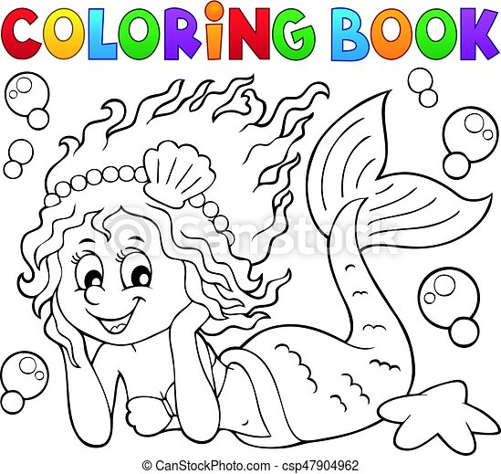Coloring book happy mermaid - csp47904962