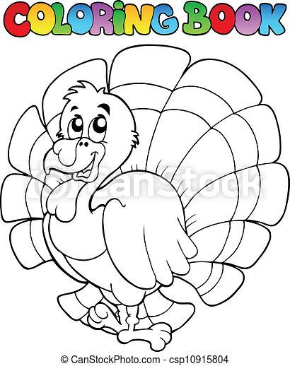 Coloring book happy turkey - vector illustration.