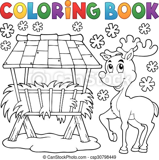 Coloring book hay rack and reindeer - csp30798449