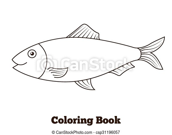 Coloring book herring fish cartoon illustration. Coloring... clipart ...