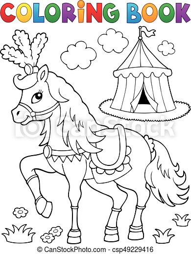 Coloring book horse near circus theme 2 - eps10 vector illustration.