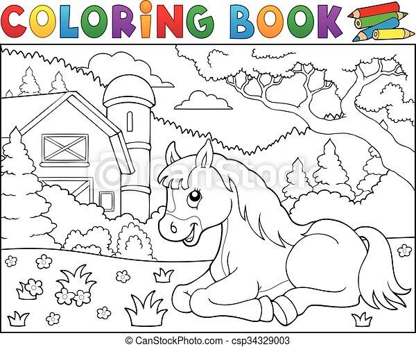 Coloring book horse near farm theme 2 - csp34329003