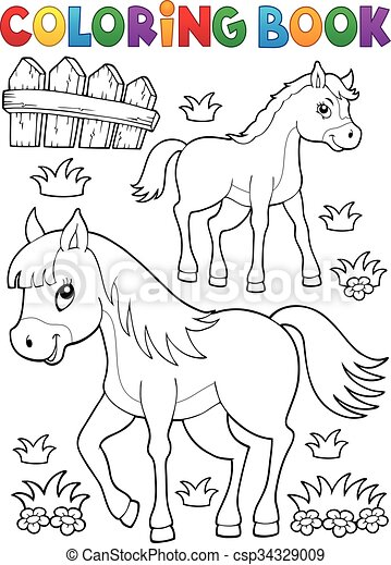 Coloring book horse with foal theme 1 - eps10 vector... vector ...
