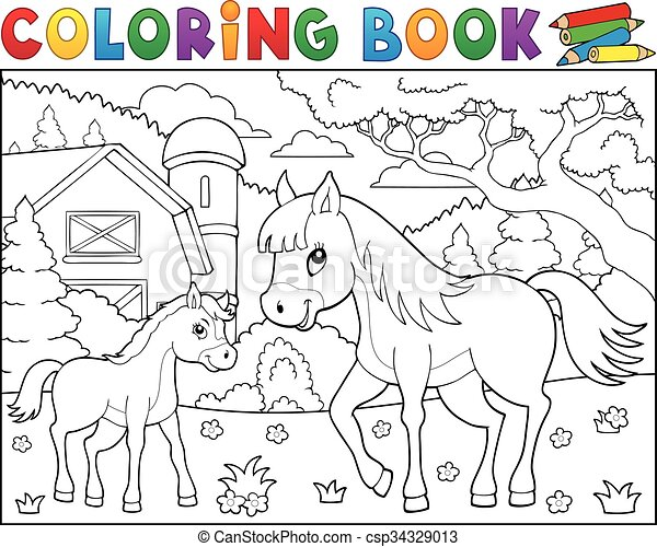 Coloring book horse with foal theme 2 - csp34329013