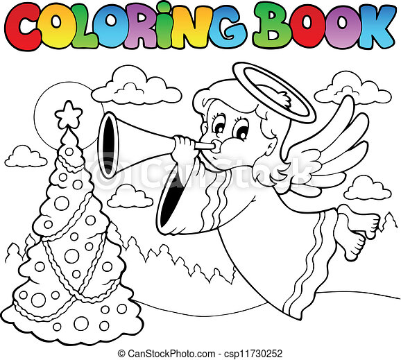 Coloring book image with angel 2 - csp11730252