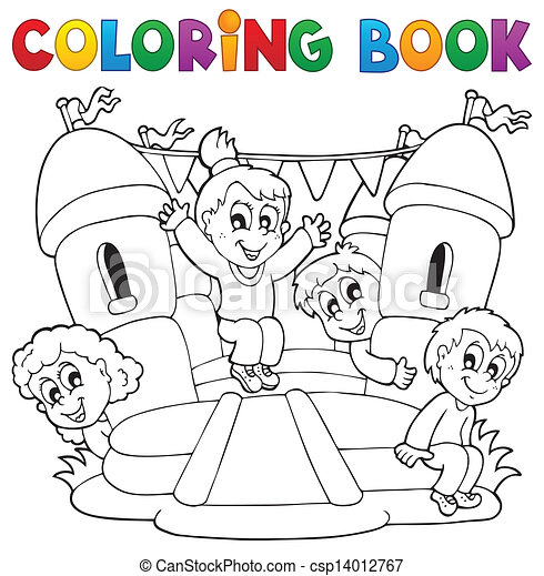 Coloring book kids play theme 5 - csp14012767