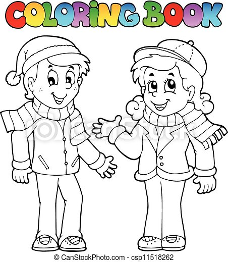 Coloring book kids theme 1 - csp11518262