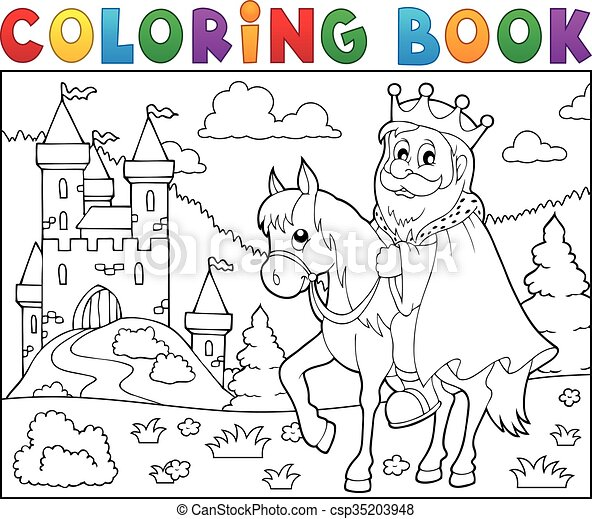 Coloring book king on horse theme  - csp35203948