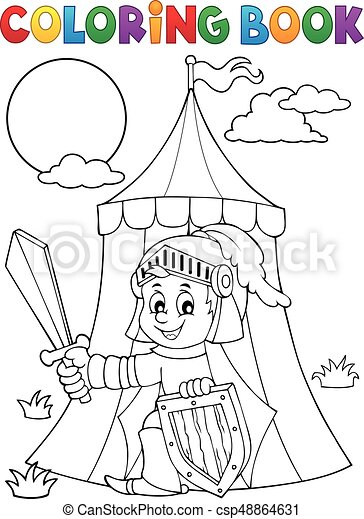 Coloring book knight by tent theme 1 - csp48864631
