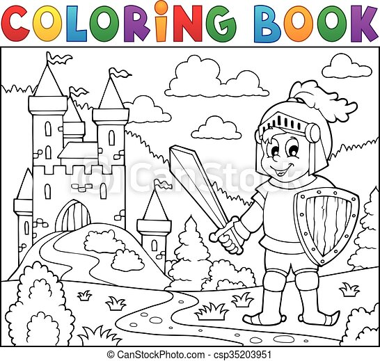 Coloring book knight near castle - csp35203951