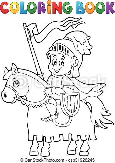 Coloring book knight on horse theme 1 - csp31926245