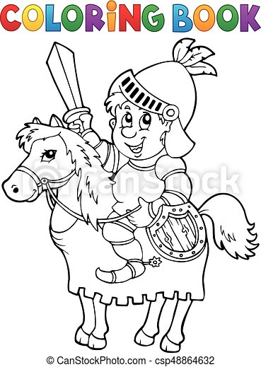 Coloring book knight on horse theme 2 - csp48864632