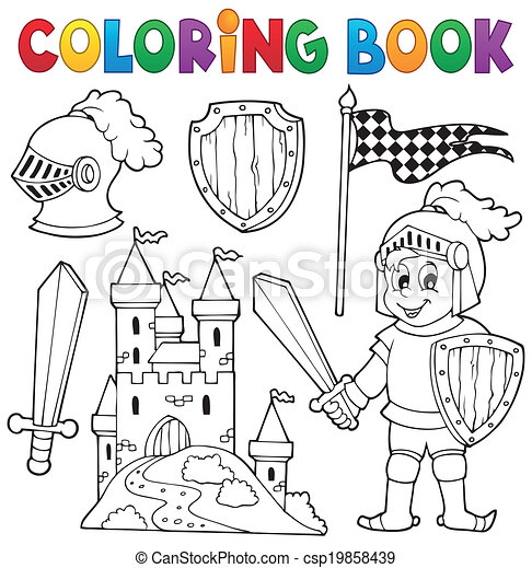 Coloring book knight theme 1 - csp19858439